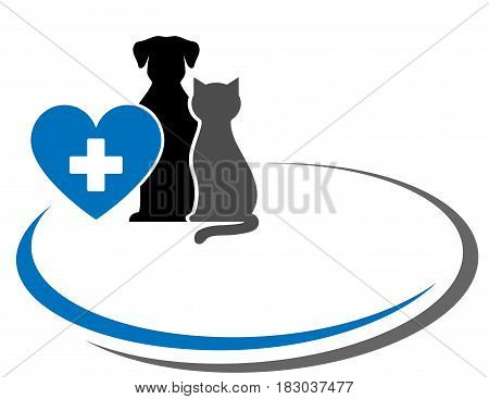 background with pets, heart and decorative lines