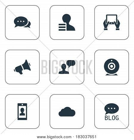 Vector Illustration Set Of Simple Blogging Icons. Elements Overcast, Site, Man Considering And Other Synonyms Cloud, Blog And Profit.