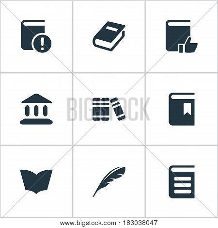 Vector Illustration Set Of Simple Knowledge Icons. Elements Book Cover, Notebook, Recommended Reading And Other Synonyms Feather, Plume And Textbook.