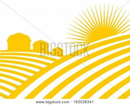 Farm Abstract Landscape. Fields And Meadows. Houses And Sun. Agriculture Sign