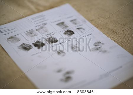The Form Of The Selected Samples Fingerprint Hands