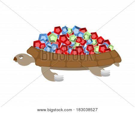 Turtle Gemstones. Treasure On Shell. Rich Marine Animal