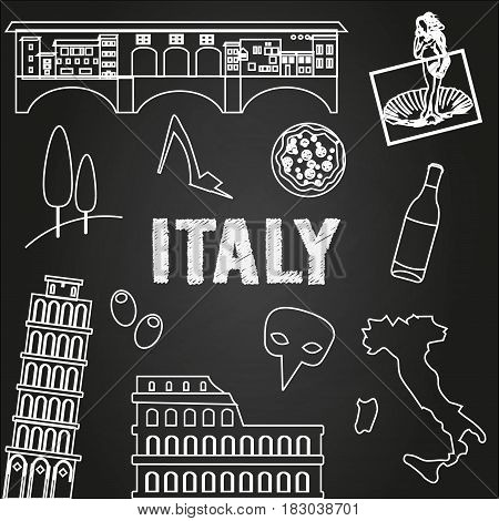 Italy travel background. Famous places and symbols of Italy on chalkboard. Outline icons. Colosseum pizza Italy map sign carnival mask