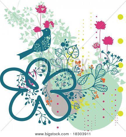 garden paradise with bird - background design