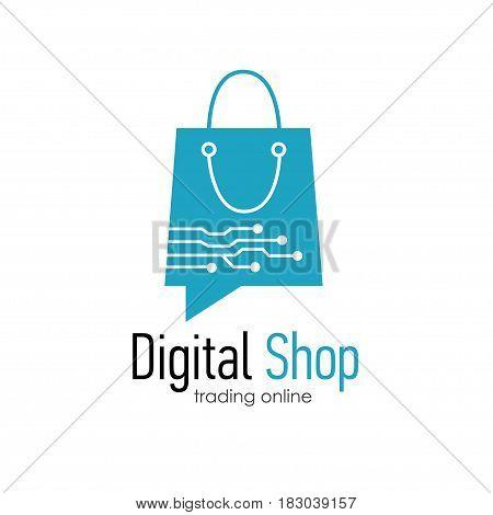 Digital shop logo design template . Web banner Digital Shop with shopping bag. Vector illustation
