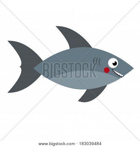 Cartoon shark. predator fish. Vector illustration clip art
