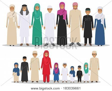 Arab girls and boys standing together in different traditional islamic clothes on white background in flat style. Group young muslim people. Different dress styles. Flat design people characters. Social concept. Family concept.