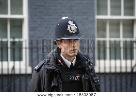 Metropolitan Policewoman On Duty In London