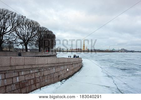 SAINT- PETERSBURG RUSSIA - FEBRUARY 01 2016: View on Vasilyevsky island and the Paul and Peter fortress in the winter Saint Petersburg Russia