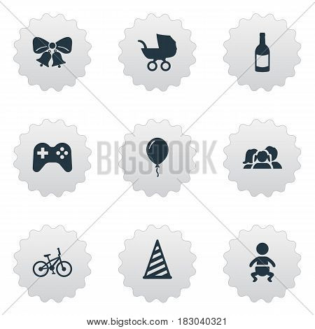 Vector Illustration Set Of Simple Birthday Icons. Elements Bicycle, Domestic, Beverage And Other Synonyms Kid, Beverage And Party.