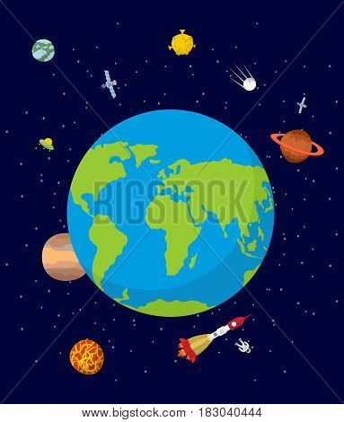 Planet Earth In Space. Rocket And Ufo. Stars And Planets.