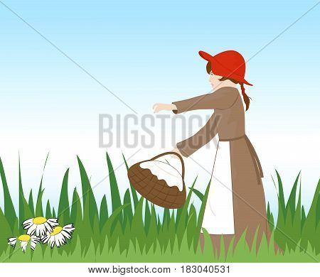 Little girl in red hat with a basket walking on the grass. Vector illustration