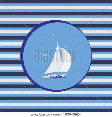White sailboat. Marine emblem. Striped background. Stylized sailboat on the waves. Design for textiles, products for children.