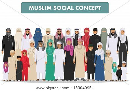 Arab men and women standing together in different traditional islamic clothes on white background in flat style. Group young and adults muslim people. Different dress styles. Flat design people characters. Social concept. Family concept.
