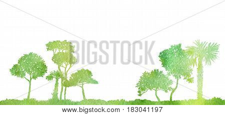 watercolor landscape with palm trees and grass, green foliage, abstract nature background, forest template, hand drawn illustration