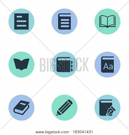 Vector Illustration Set Of Simple Knowledge Icons. Elements Alphabet, Tasklist, Blank Notebook And Other Synonyms Encyclopedia, Book And Sketchbook.