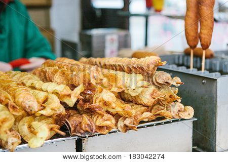 Crispy delicious potato chips on a skewer grilled on the street. Street fast food