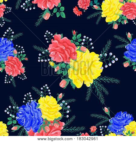 Magnificent bouquet.Seamless pattern with pinkyellowblue roses on a black background.Vector illustration in retro style.Beautiful Print for book covers textilefabricwrapping paperscrapbooking.