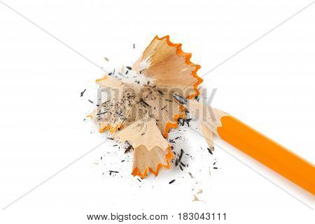 Yellow Pencil With Shavings On A White Background
