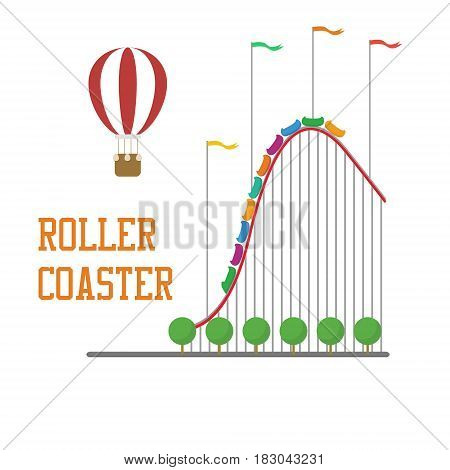 Roller coaster concept with hot air balloon and flags isolated
