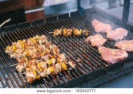 Roasted meat on the grill. Barbecue. BBQ. The outdoors and cooking on the fire.