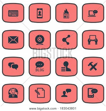 Vector Illustration Set Of Simple Newspaper Icons. Elements Keypad, Share, Man Considering And Other Synonyms Debate, Gain And Keyboard.