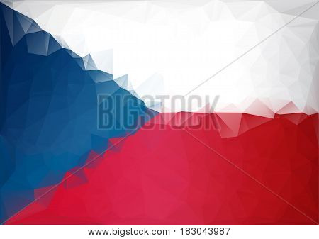 Czech republic flag in low poly style red white blue