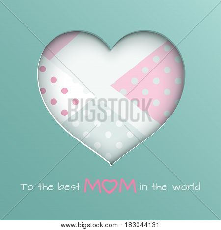 Green paper cuted heart on white pink and green dotted background for mother's day greeting card paper cut out art style. Vector illustration text to the best mom in the world layers are isolated