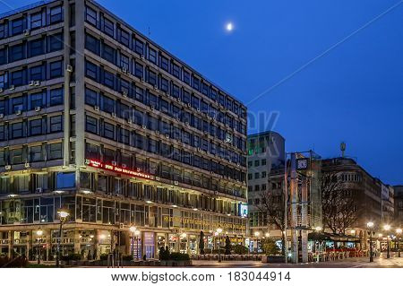 BELGRADE SERBIA - MARCH 18 2017: Buildings and lights at morning time on Republic Square in Belgrade Serbia.