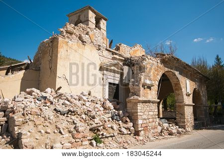 The church of Sant'Antonio Abate of Visso destroyed by terrific earthquake