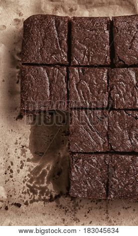 Baking tray with sliced delicious chocolate brownie
