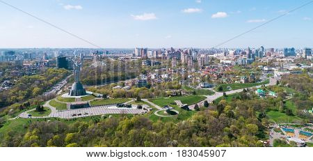 Panoramic view of the city of Kiev. Mother Land and Park of Glory view. Aerial view, from above. Outdoor.