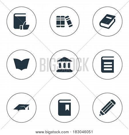 Vector Illustration Set Of Simple Reading Icons. Elements Book Cover, Pen, Recommended Reading And Other Synonyms Library, Building And School.