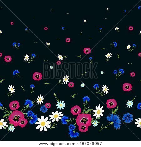 Abstract Floral seamless pattern with white chamomilered poppies and blue cornflowers. Bright flowers on a black background. Summer vector illustration for print. textile fabric wrapping paper.