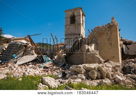 Earthquake of central Italy: church of Sant'Antonio Abate collapsed in the historic center of Visso