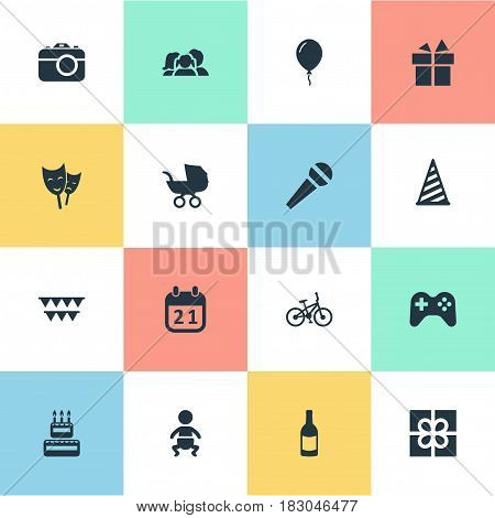 Vector Illustration Set Of Simple Celebration Icons. Elements Bicycle, Ribbon, Cap And Other Synonyms Sky, Baby And Prize.
