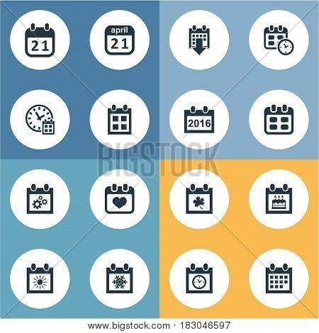 Vector Illustration Set Of Simple Time Icons. Elements Date Block, Event, Date And Other Synonyms Snowflake, Birthday And Autumn.