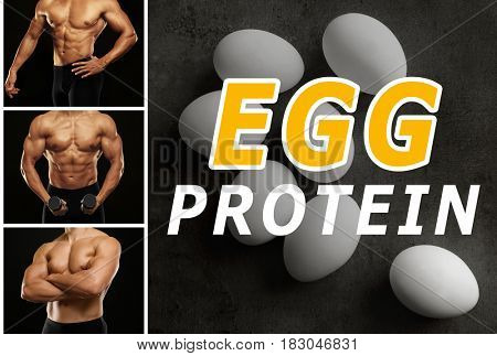 Egg protein concept. Muscular man on dark background