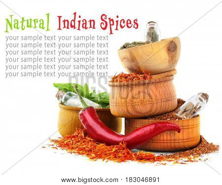 Natural Indian spices on white background