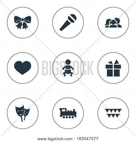 Vector Illustration Set Of Simple Holiday Icons. Elements Soul, Mask, Speech And Other Synonyms Feelings, Speech And Prize.