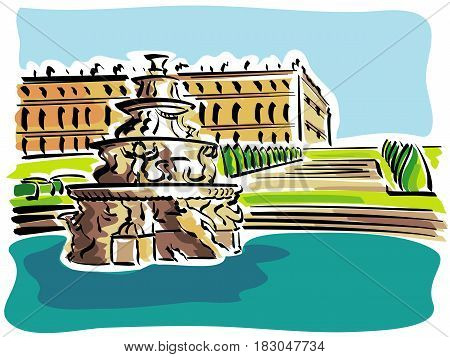 vector illustration overview of the Palace of Versailles