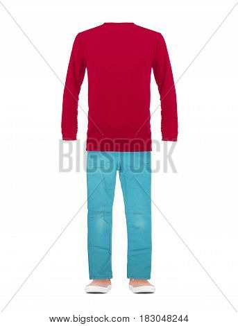 T-shirt with long sleeves jeans and sneakers isolated on white background. Conceptual image of a dummy