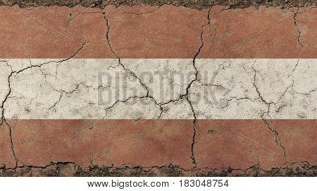 Old Grunge Vintage Faded Flag Of Austria