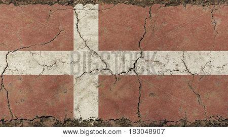 Old Grunge Vintage Faded Danish (denmark) Flag