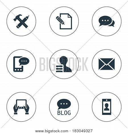 Vector Illustration Set Of Simple User Icons. Elements Site, Profile, Gain And Other Synonyms Phone, Post And Gain.