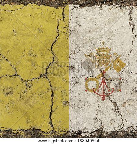 Old Grunge Vintage Faded Flag Of Vatican City