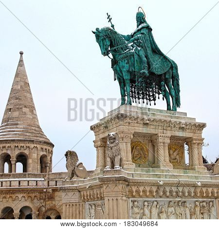 monument of Saint Stephen - the first king of Hungary in front of Fisherman's Bastion in Buda Castle, Budapest, Hungary. Square image