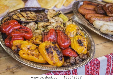Grilled Vegetables On A Tray