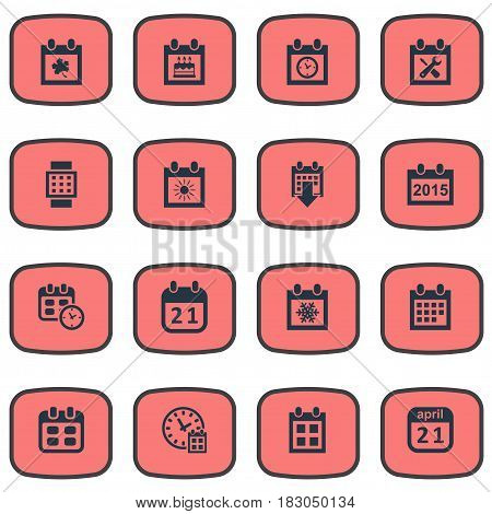 Vector Illustration Set Of Simple Time Icons. Elements Renovation Tools, Remembrance, Deadline And Other Synonyms Remembrance, Autumn And Annual.
