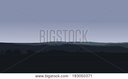 Panorama landscape with hills woods and gray winter or autumn sky - vector